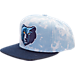 Front view of adidas Memphis Grizzlies NBA Denim Snapback Hat in Blue