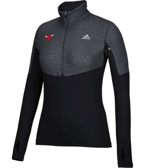 Women's adidas Chicago Bulls NBA Heat Transfer Half-Zip Shirt