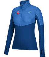 Women's adidas Detroit Pistons NBA Heat Transfer Half-Zip Shirt