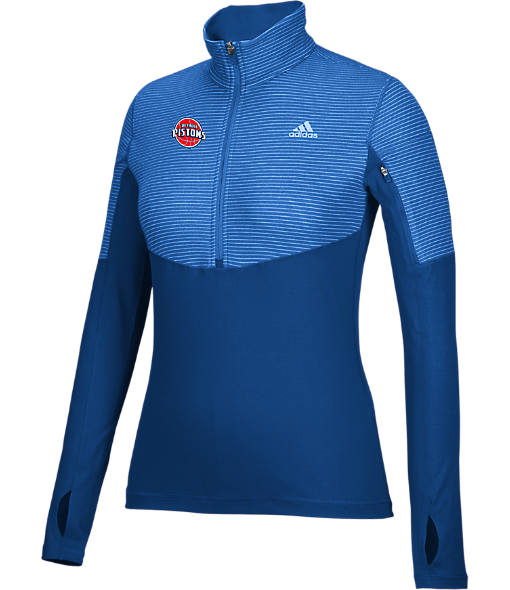 Women's adidas Detroit Pistons NBA Heat Transfer Half-Zip Shirt