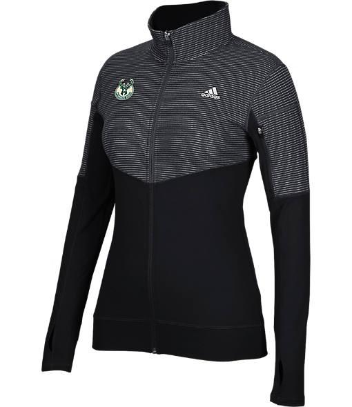 Women's adidas Milwaukee Bucks NBA Heat Transfer Half-Zip Shirt