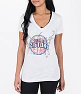 Women's adidas Detroit Pistons NBA Top Logo Slant V-Neck T-Shirt