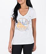 Women's adidas Golden State Warriors NBA Top Logo Slant V-Neck T-Shirt
