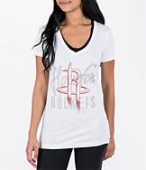Women's adidas Houston Rockets NBA Top Logo Slant V-Neck T-Shirt