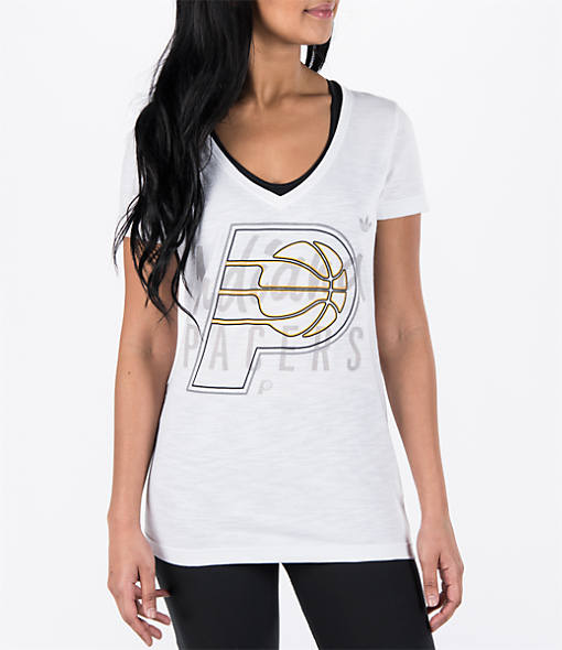 Women's adidas Indiana Pacers NBA Top Logo Slant V-Neck T-Shirt