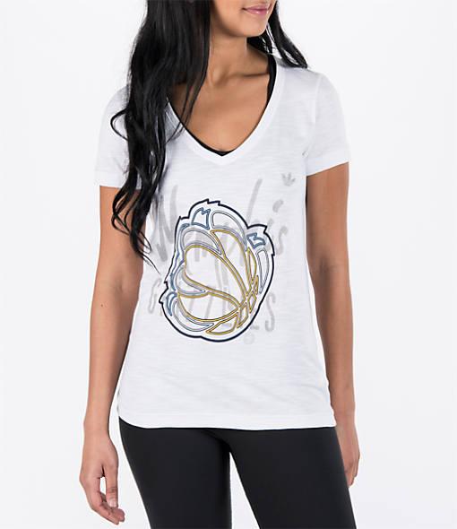 Women's adidas Memphis Grizzlies NBA Top Logo Slant V-Neck T-Shirt