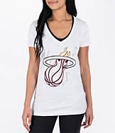 Women's adidas Miami Heat NBA Top Logo Slant V-Neck T-Shirt