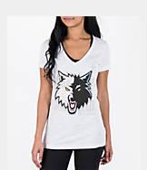 Women's adidas Minnesota Timberwolves NBA Top Logo Slant V-Neck T-Shirt