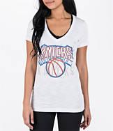 Women's adidas New York Knicks NBA Top Logo Slant V-Neck T-Shirt