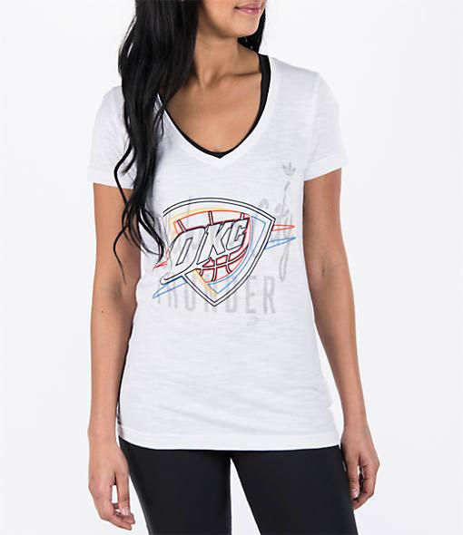 Women's adidas Oklahoma City Thunder NBA Top Logo Slant V-Neck T-Shirt