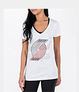 Women's adidas Portland Trail Blazers NBA Top Logo Slant V-Neck T-Shirt