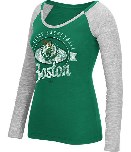Women's adidas Boston Celtics NBA Script Distressed Slub Long-Sleeve Shirt
