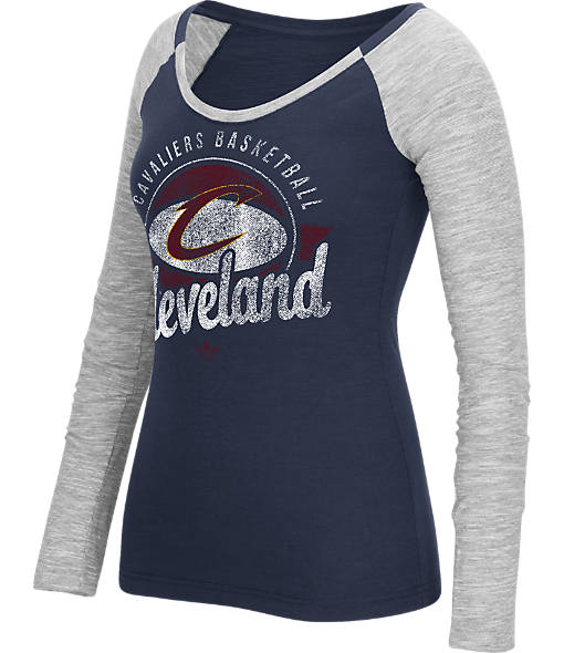 Women's adidas Cleveland Cavaliers NBA Script Distressed Slub Long-Sleeve Shirt
