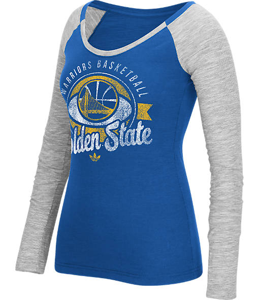 Women's adidas Golden State Warriors NBA Script Distressed Slub Long-Sleeve Shirt