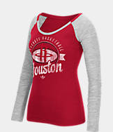 Women's adidas Houston Rockets NBA Script Distressed Slub Long-Sleeve Shirt