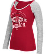 Women's adidas Houston Rockets NBA Script Distressed Slub Long-Sleeve Shirt