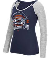 Women's adidas Oklahoma City Thunder NBA Script Distressed Slub Long-Sleeve Shirt