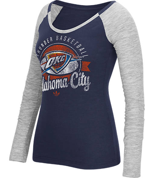 Women's adidas Oklahoma City Thunder NBA Script Distressed Slub Long-Sleeve Shirt