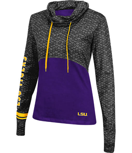 Women's Stadium LSU Tigers College Scaled Cowl-Neck Pullover Hoodie