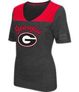 Women's Stadium Georgia Bulldogs College Twist V-Neck T-Shirt