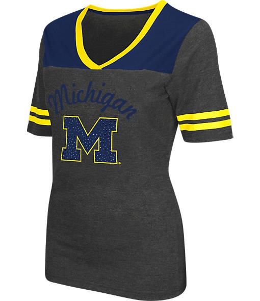 Women's Stadium Michigan Wolverines College Twist V-Neck T-Shirt