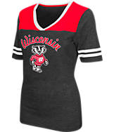 Women's Stadium Wisconsin Badgers College Twist V-Neck T-Shirt