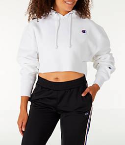 Womens Champion Reverse Weave Crop Hoodie,White