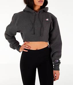 Womens Champion Reverse Weave Crop Hoodie,Dark Grey
