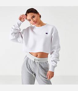 Womens Champion Reverse Weave Crop Crew Sweatshirt,White