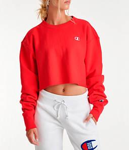 Womens Champion Reverse Weave Crop Crew Sweatshirt,Red
