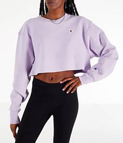 Womens Champion Reverse Weave Crop Crew Sweatshirt,Pale Violet Rose