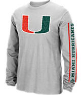 Men's adidas Miami Hurricanes College Sleeve Play Long-Sleeve T-Shirt