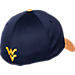 Back view of Top Of The World West Virginia Mountaineers College Lightspeed Flex Fit Hat in Team Colors
