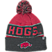 Front view of Top of the World Arkansas Razorbacks College Below Zero Cuffed Pom Knit Hat in Team Colors