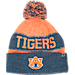 Front view of Top of the World Auburn Tigers College Below Zero Cuffed Pom Knit Hat in Team Colors