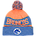 Front view of Top of the World Boise State Broncos College Below Zero Cuffed Pom Knit Hat in Team Colors