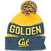 Front view of Top of the World Cal Golden Bears College Below Zero Cuffed Pom Knit Hat in Team Colors