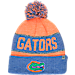 Front view of Top of the World Florida Gators College Below Zero Cuffed Pom Knit Hat in Team Colors
