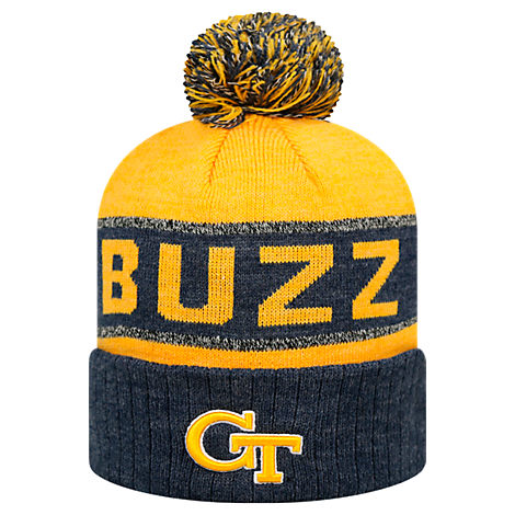Top of the World Georgia Tech Yellow Jackets College Below Zero Cuffed Pom Knit Hat