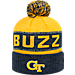 Front view of Top of the World Georgia Tech Yellow Jackets College Below Zero Cuffed Pom Knit Hat in Team Colors