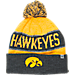 Front view of Top of the World Iowa Hawkeyes College Below Zero Cuffed Pom Knit Hat in Team Colors
