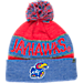 Front view of Top of the World Kansas Jayhawks College Below Zero Cuffed Pom Knit Hat in Team Colors