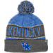 Front view of Top of the World Kentucky Wildcats College Below Zero Cuffed Pom Knit Hat in Team Colors