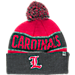 Front view of Top of the World Louisville Cardinals College Below Zero Cuffed Pom Knit Hat in Team Colors