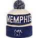 Front view of Top of the World Memphis Tigers College Below Zero Cuffed Pom Knit Hat in Team Colors