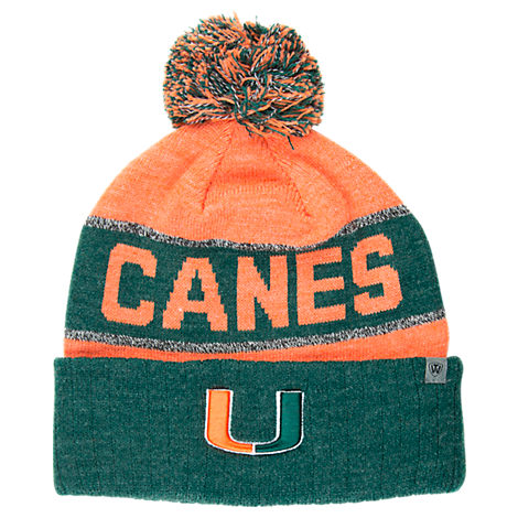 Top of the World Miami Hurricanes College Below Zero Cuffed Pom Knit Hat