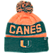 Front view of Top of the World Miami Hurricanes College Below Zero Cuffed Pom Knit Hat in Team Colors