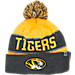Front view of Top of the World Missouri Tigers College Below Zero Cuffed Pom Knit Hat in Team Colors