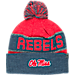 Front view of Top of the World Mississippi Rebels College Below Zero Cuffed Pom Knit Hat in Team Colors