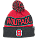 Front view of Top of the World NC State Wolfpack College Below Zero Cuffed Pom Knit Hat in Team Colors